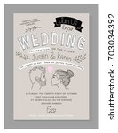 wedding invitation card design. ... | Shutterstock .eps vector #703034392