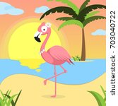 summer background with pink...   Shutterstock . vector #703040722