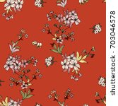 seamless floral pattern in... | Shutterstock .eps vector #703046578