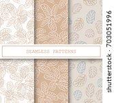 floral seamless pattern set... | Shutterstock .eps vector #703051996