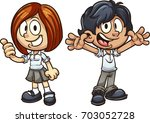 cartoon kids in uniform. vector ... | Shutterstock .eps vector #703052728
