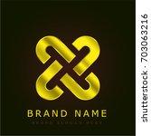 interlock golden metallic logo