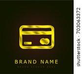 credit card golden metallic logo