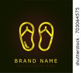 flip flops golden metallic logo