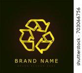 recycle golden metallic logo