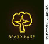 tree golden metallic logo