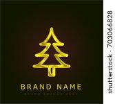 pine tree golden metallic logo