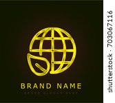 earth golden metallic logo