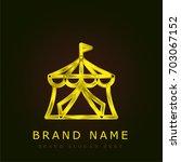 tent golden metallic logo