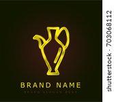 vase golden metallic logo