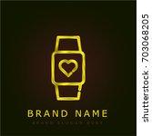 heart rate golden metallic logo
