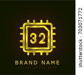 cpu golden metallic logo