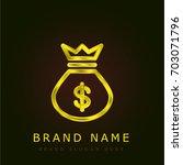 money bag golden metallic logo
