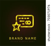 credit card golden metallic logo