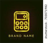 calculator golden metallic logo