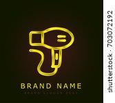 hair dryer golden metallic logo