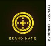 button golden metallic logo