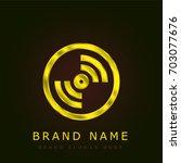 disc golden metallic logo
