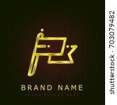 flag golden metallic logo