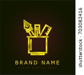 pencil case golden metallic logo