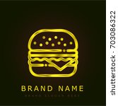hamburger golden metallic logo | Shutterstock .eps vector #703086322
