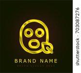 face mask golden metallic logo