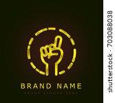 counting golden metallic logo