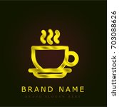 coffee cup golden metallic logo