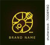 ukelele golden metallic logo