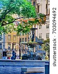 Small photo of LISBON, PORTUGAL - CIRCA SEPTEMBER 2012: Park with a fountain adjacent to the Carmo Convent
