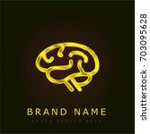 brain golden metallic logo