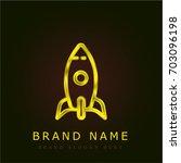 startup golden metallic logo