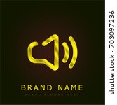 speaker golden metallic logo