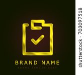 clipboard golden metallic logo