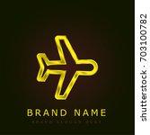 aeroplane golden metallic logo