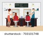hairdresser cuts customers hair ... | Shutterstock .eps vector #703101748