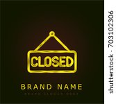 closed golden metallic logo