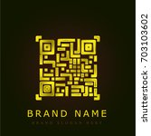 qr code golden metallic logo | Shutterstock .eps vector #703103602