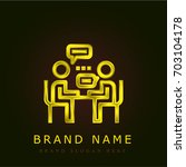 interview golden metallic logo