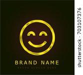 happiness golden metallic logo