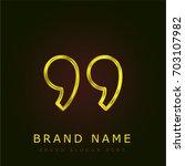 right quote golden metallic logo