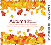 horizontal borders of oak leaf... | Shutterstock .eps vector #703108996