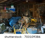 dirty old wooden garage or shed ... | Shutterstock . vector #703109386