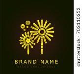 fireworks golden metallic logo