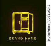 wardrobe golden metallic logo