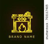 fireplace golden metallic logo
