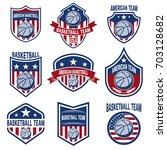 set of american basketball team ... | Shutterstock .eps vector #703128682