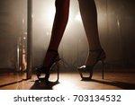 pole dancer  legs near pylon | Shutterstock . vector #703134532