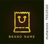 bag golden metallic logo