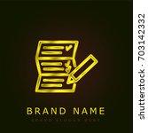 list golden metallic logo